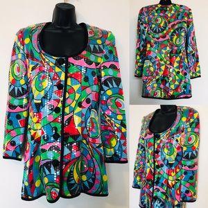 Vintage Silk Sequin Multicolor Dress / Jacket